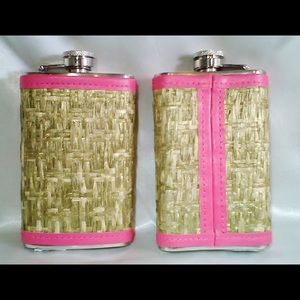 SHIMMER BAMBOO FLASK W/ PINK PLEATHER LINING 5 OZ